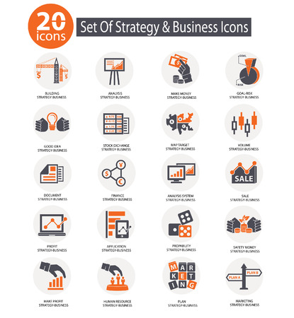 Strategy business and finance concept icons,Orange version