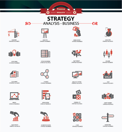 Strategy business and finance concept icons,Red version Vector