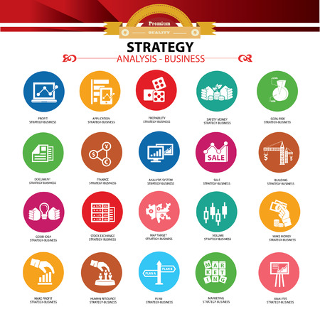 Strategy business and finance concept icons,Colorful version Stock Vector - 22226946