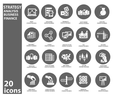 Strategy business and finance concept icons Vector