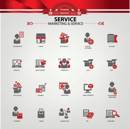 content management: Service and Marketing icons,Red version Illustration