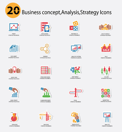 Stock exchange and Business analysis icons,Colorful version Vector