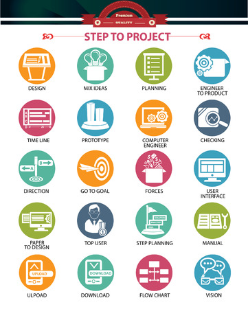 Schritt zu Projekt-und Business-Konzept-Icons, bunte Version Vektorgrafik