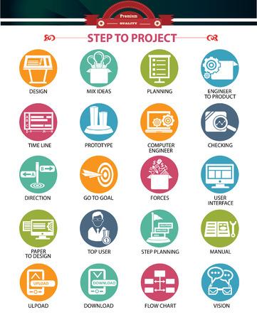 Stap voor project-en Business concept pictogrammen, Kleurrijke versie Vector Illustratie