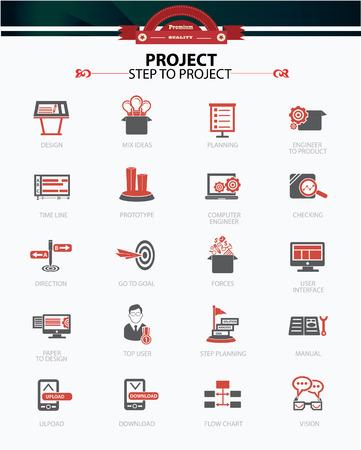 prototipo: Paso de iconos de concepto del proyecto y de negocios, la versión Red