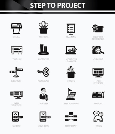 Step to project and Business concept icons,Black version Vector