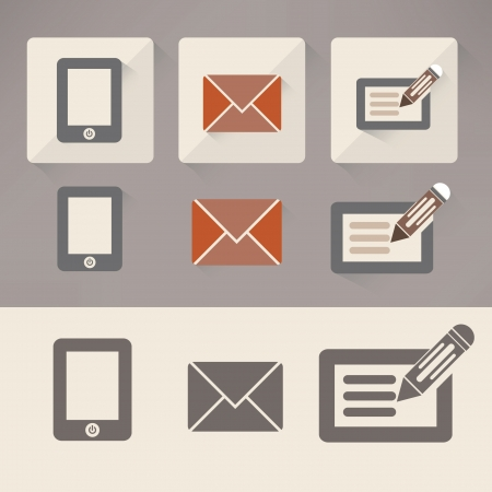 get in touch: Vintage Mobile phone,Email   paper or tablet computer icons Illustration