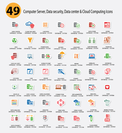 cloud security: Computer system,Data center,Data security and Cloud computing Icons,Colorful version