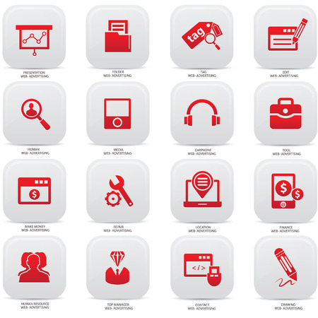 Web,Advertising icons on buttons,Red version Vector
