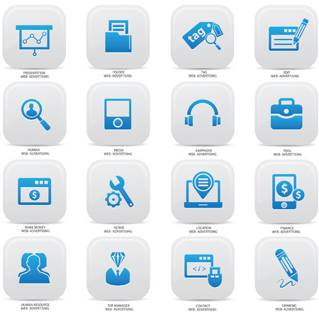 brand monitoring: Web,Advertising icons on buttons,Blue version