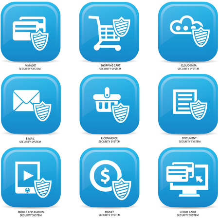 Security web media icons,Blue version Vector