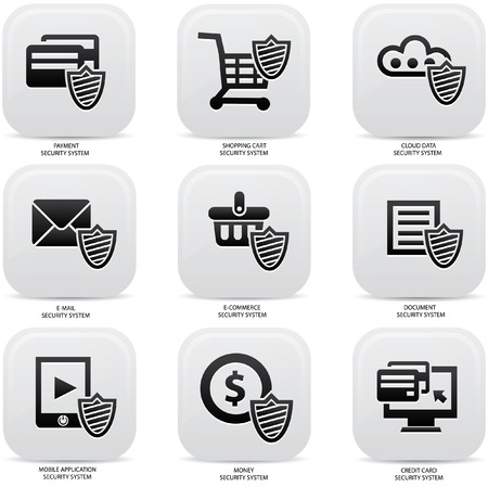 Security web media icons,Black version Vector