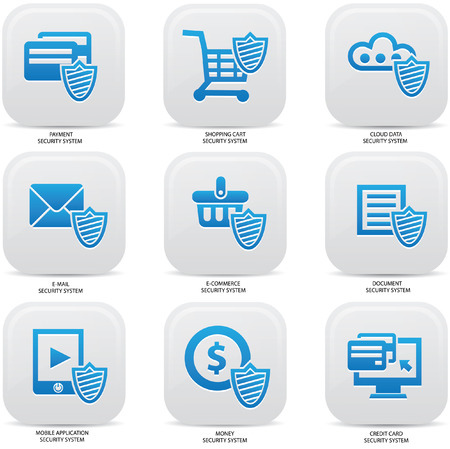 Security web media icons,Blue version Stock Vector - 22444540