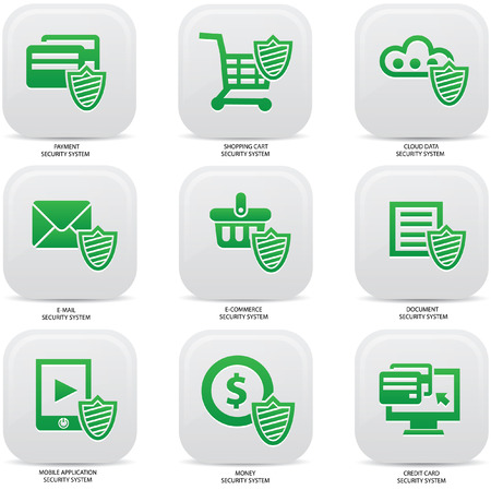 Security web media icons,Green version Vector