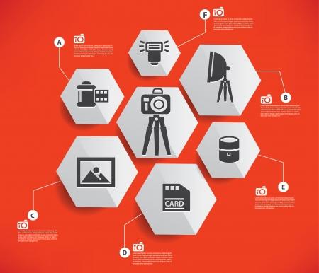 polarizing: Camera set infographics design