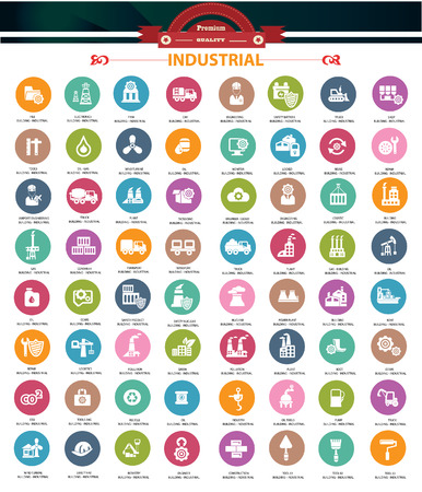 warning signs: Industrial icons,Colorful version,vector