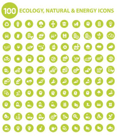 자연 및 생태 아이콘, 녹색 버전, 벡터
