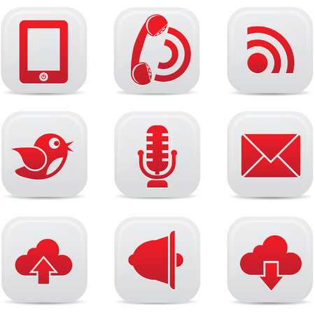 Communication icons on buttons Vector