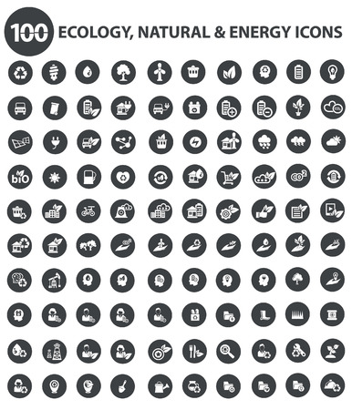 Natural and Ecology icons,Black version,vector 矢量图像