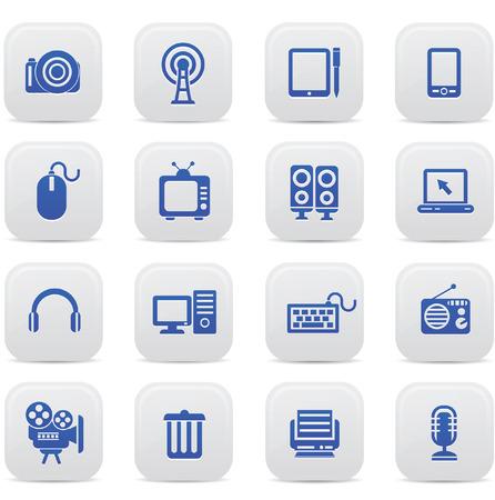 Technology buttons,Blue version,vector