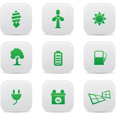 Ecology and Energy buttons,Green version,vector Vector