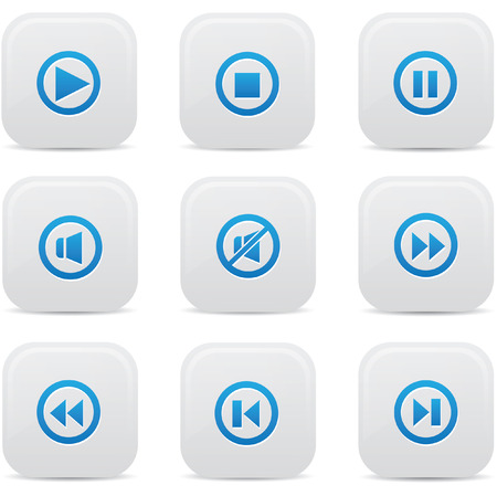 player controls: Audio buttons,Blue version,vector