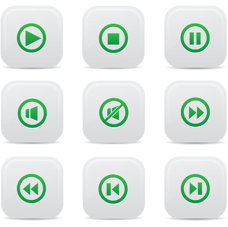 satined: Audio buttons,Green version,vector