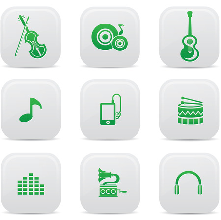 Music buttons,Green version,vector Vector