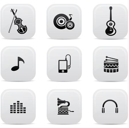 botones musica: Botones de la m�sica, la versi�n Negro, vector Vectores