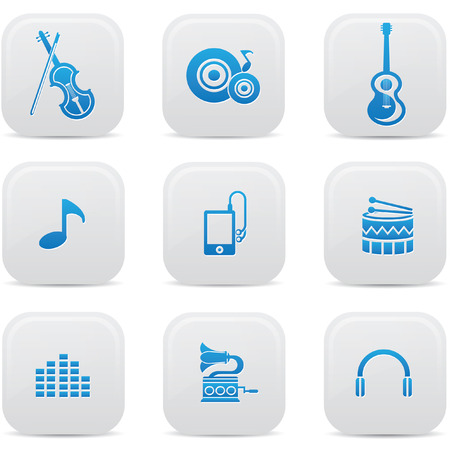 Music buttons,Blue version,vector Vector