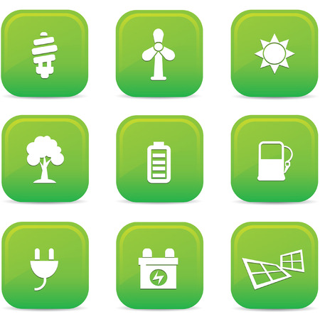 Ecology icons,Green buttons,vector Vector