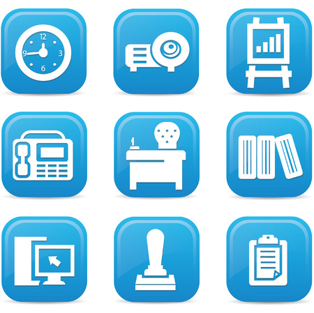 Office icons,Blue buttons,vector Vector