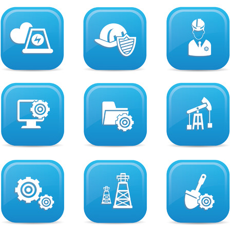 Industrial icons,Blue buttons,vector Vector