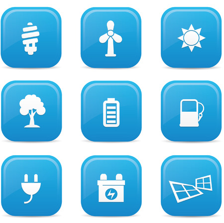 Ecology icons,Blue buttons,vector Stock Vector - 22439147