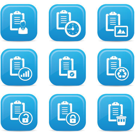 Documents icons,Blue buttons,vector Vector