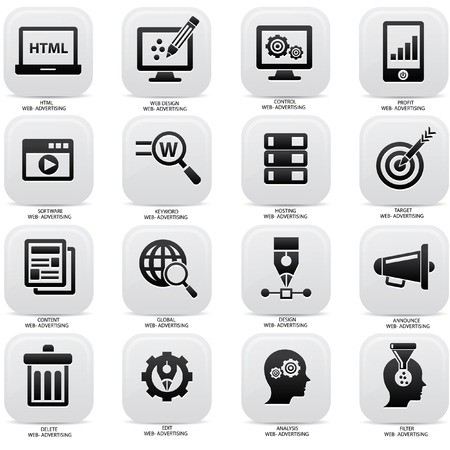 content: Web,Advertising icons on buttons Illustration
