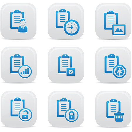 Documents icons,Blue buttons,vector Stock Vector - 22439153
