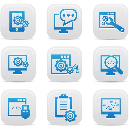 SEO icons on button Stock Vector - 22444639