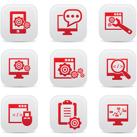 SEO icons on buttons Stock Vector - 22444641
