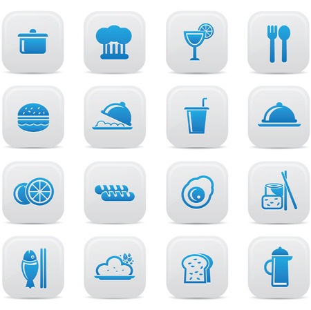 Food and drink icons,Blue version,vector Vector