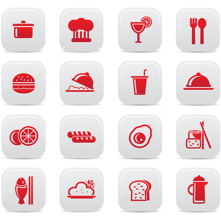 Food and drink icons,Red version,vector Vector