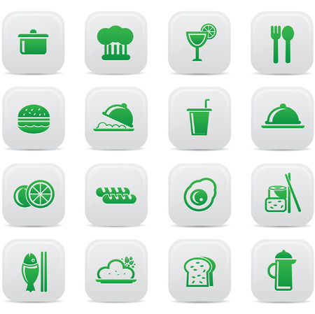 lo mein: Food and drink icons,Green version,vector