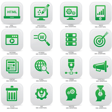 Web,Advertising icons on buttons Illustration