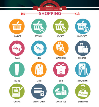 Shopping icons,Colorful version,vector Vector