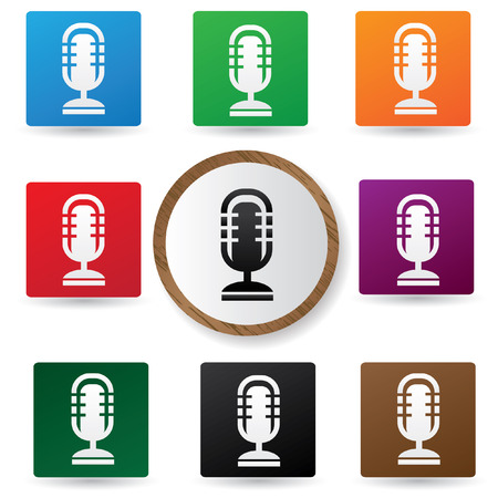 Microphone symbol,Color buttons,vector Stock Vector - 22514363
