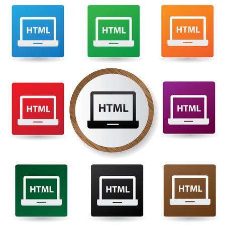 html: Html symbol,Color buttons,vector Illustration
