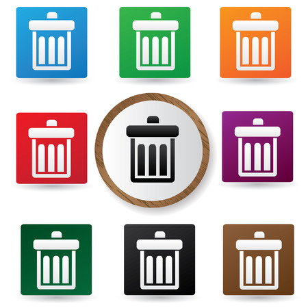 kompost: Bin symbol, Farbe-Schaltfl�chen, Vektor Illustration