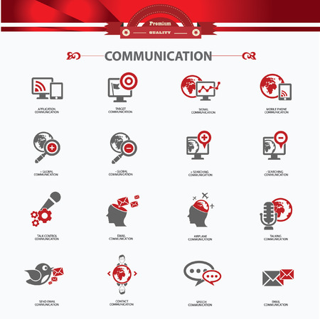 Communication concept icons,Red version,vector Vector