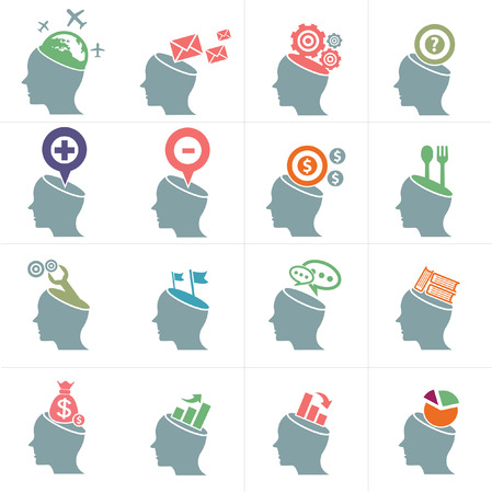 Heads concept symbol,Blue version,vector Illustration
