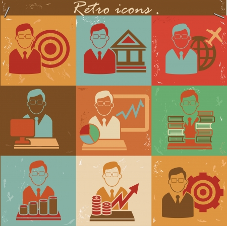Human resource icon set,Vintage style,vector Vector